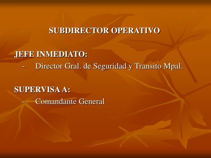 SUBDIRECTOR OPERATIVO