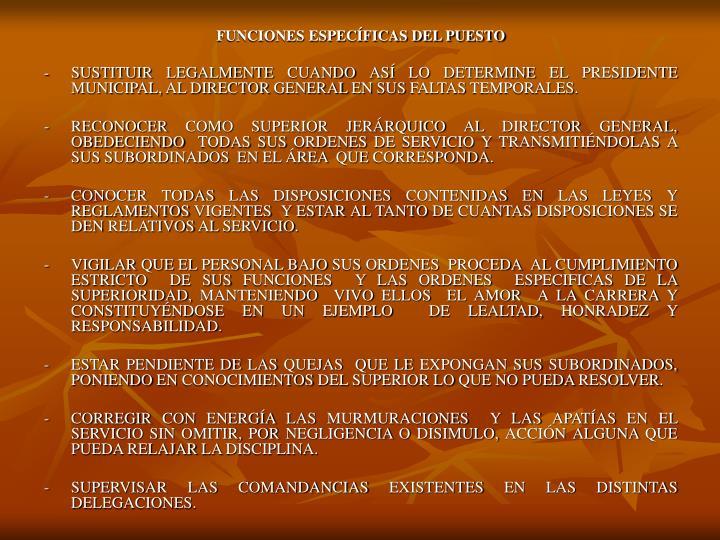FUNCIONES ESPECÍFICAS DEL PUESTO