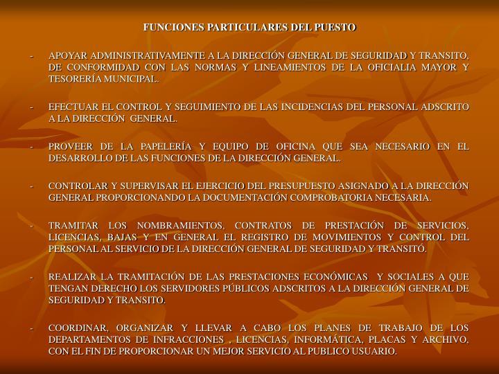 FUNCIONES PARTICULARES DEL PUESTO