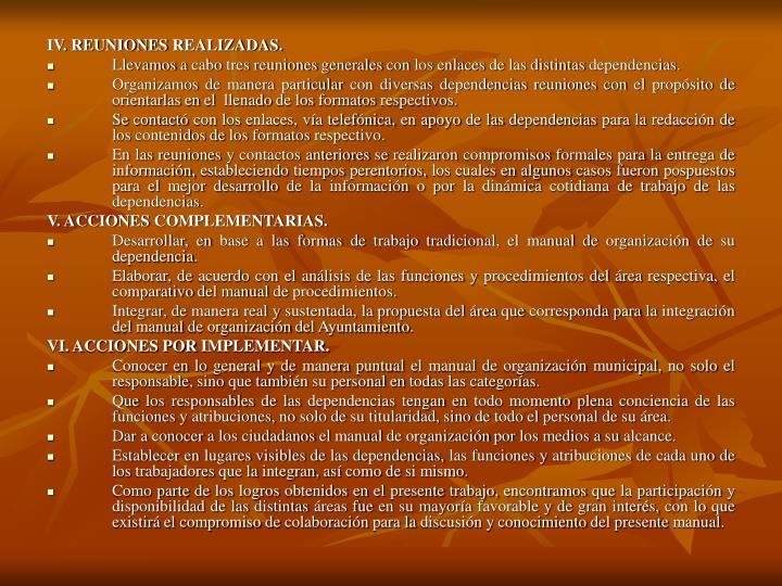 IV. REUNIONES REALIZADAS.