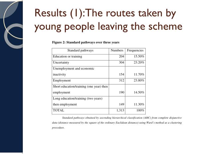 Results (1):The routes taken by young people leaving the scheme