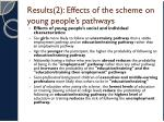 results 2 effects of the scheme on young people s pathways