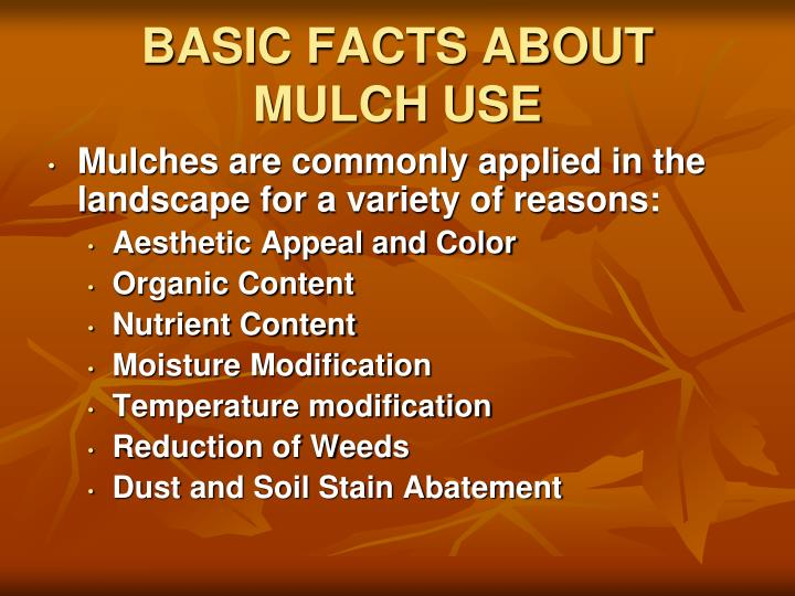 BASIC FACTS ABOUT MULCH USE