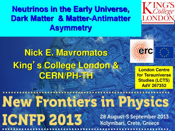 Neutrinos in the early universe dark matter matter antimatter asymmetry