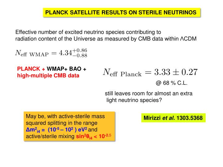PLANCK SATELLITE RESULTS ON STERILE NEUTRINOS