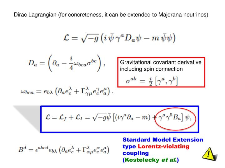 Dirac Lagrangian (for concreteness, it can be extended to Majorana neutrinos)