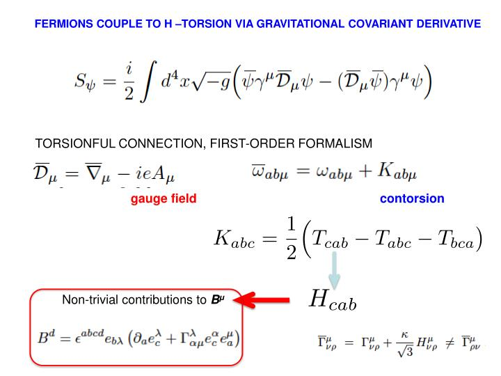 FERMIONS COUPLE TO H –TORSION VIA GRAVITATIONAL COVARIANT DERIVATIVE