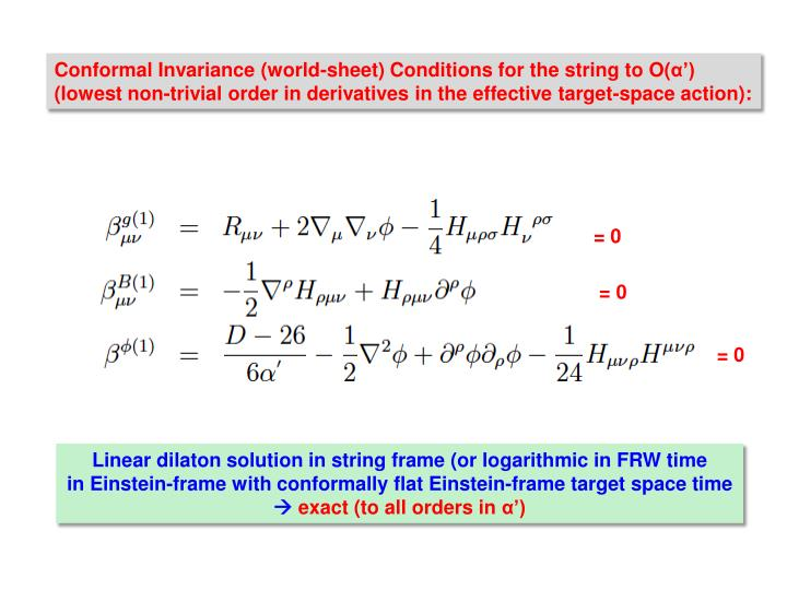 Conformal Invariance (world-sheet) Conditions for the string to O(
