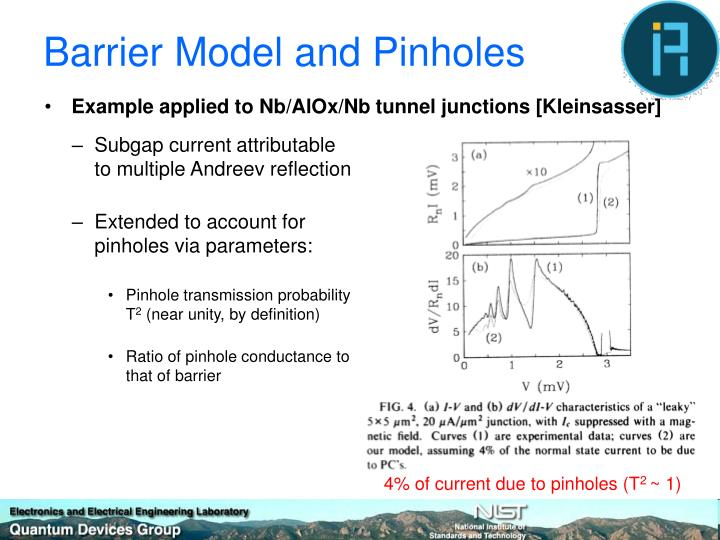 Barrier Model and Pinholes