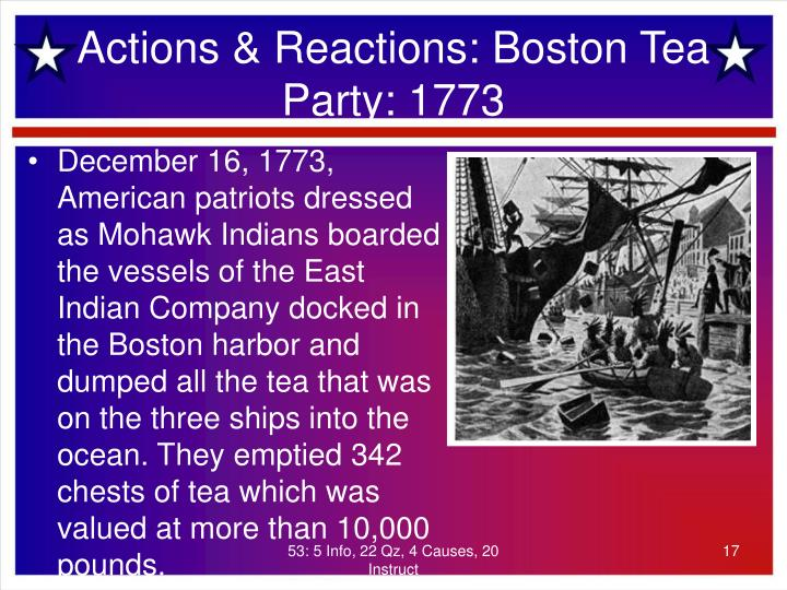 Actions & Reactions: Boston Tea Party: 1773