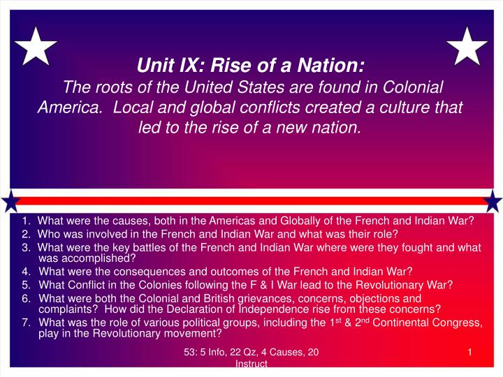 Unit IX: Rise of a Nation:
