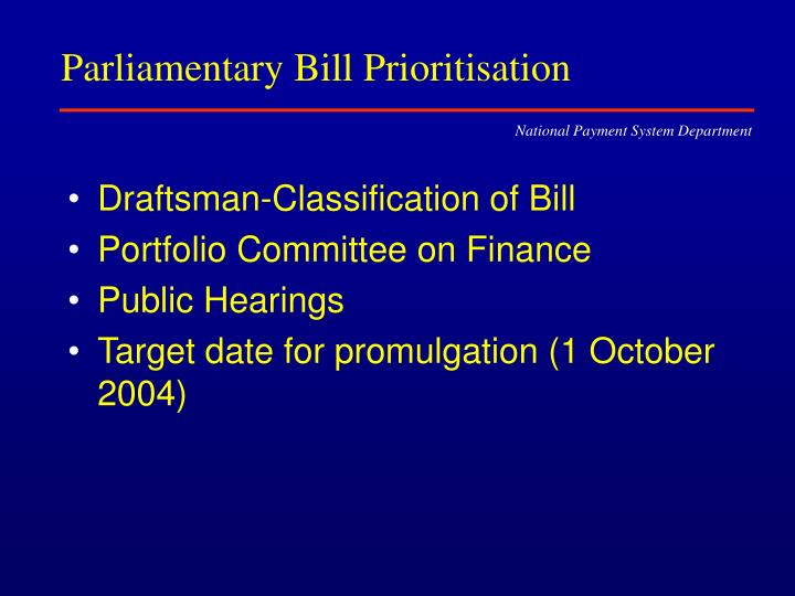 Parliamentary Bill Prioritisation