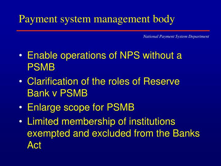 Payment system management body