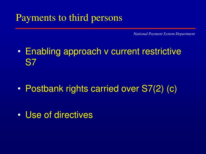Payments to third persons