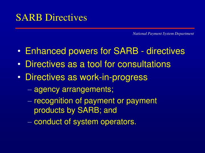 SARB Directives