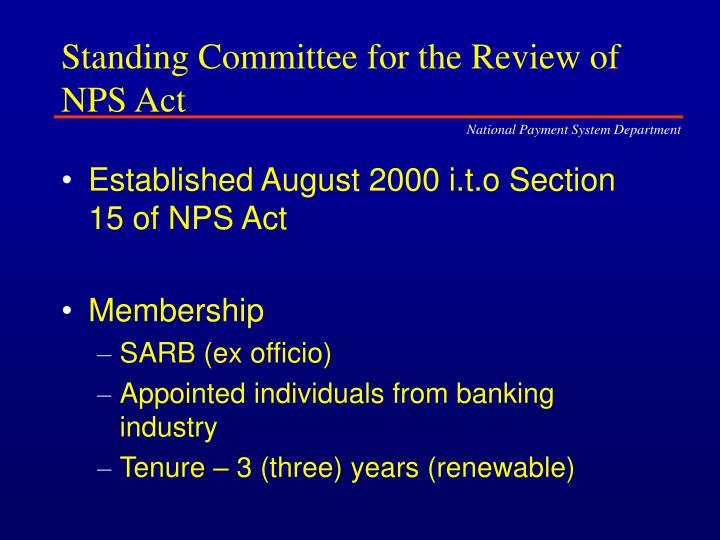 Standing Committee for the Review of NPS Act