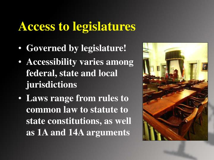 Access to legislatures