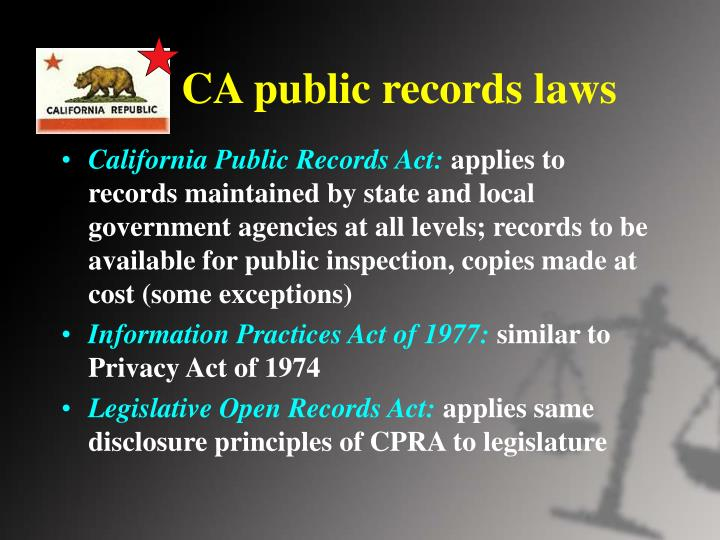 CA public records laws