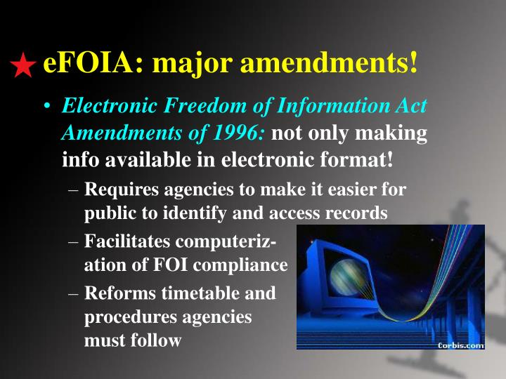 eFOIA: major amendments!