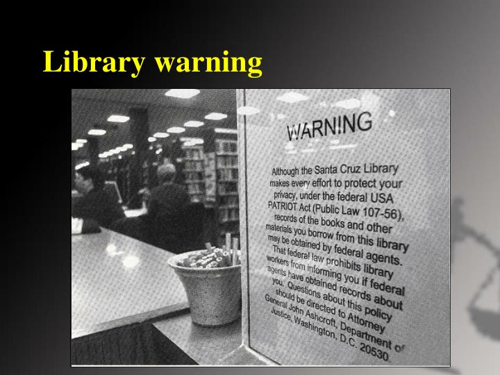 Library warning