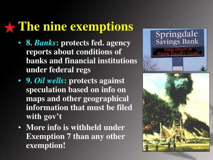 The nine exemptions
