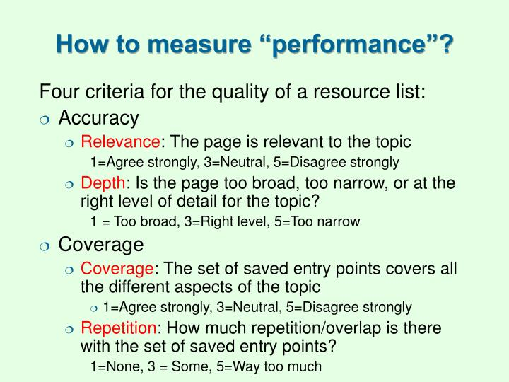 "How to measure ""performance""?"