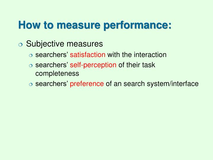 How to measure performance: