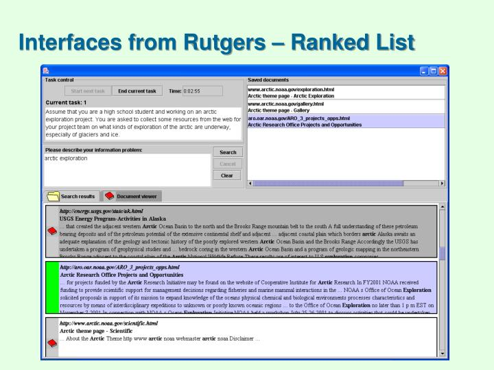 Interfaces from Rutgers – Ranked List