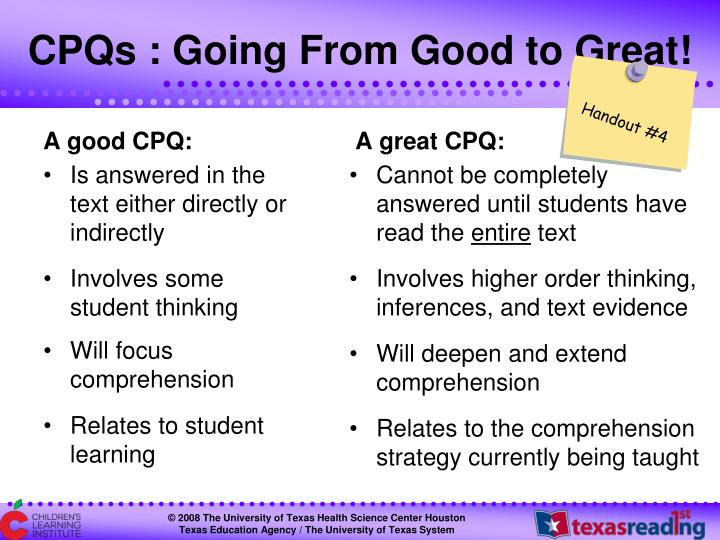 CPQs : Going From Good to Great!
