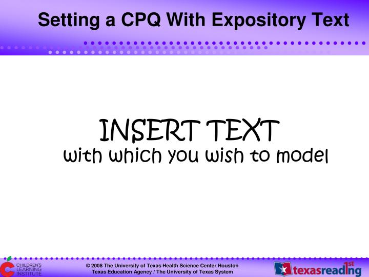 Setting a CPQ With Expository Text