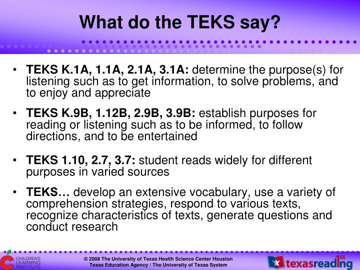 What do the TEKS say?