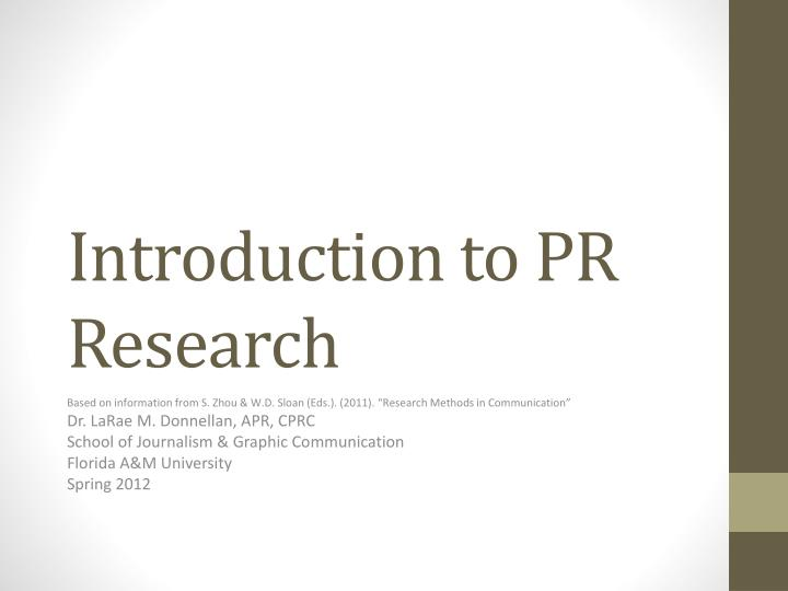 Introduction to pr research