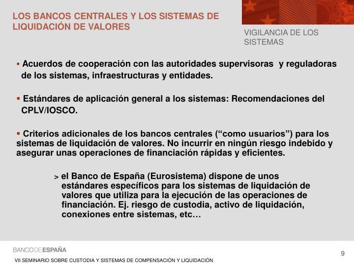 LOS BANCOS CENTRALES Y LOS SISTEMAS DE LIQUIDACIÓN DE VALORES