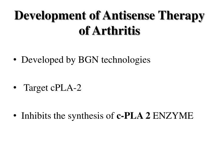 Development of Antisense Therapy of Arthritis