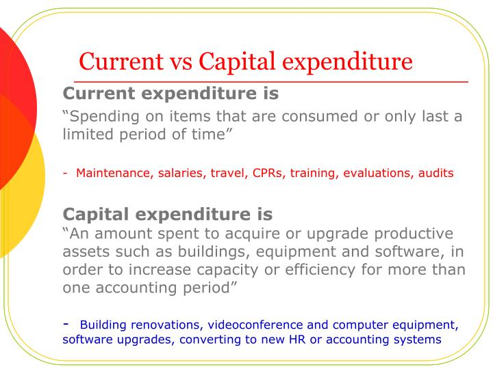 Current vs Capital expenditure