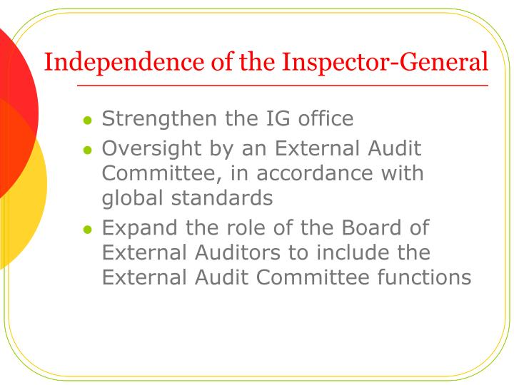 Independence of the Inspector-General
