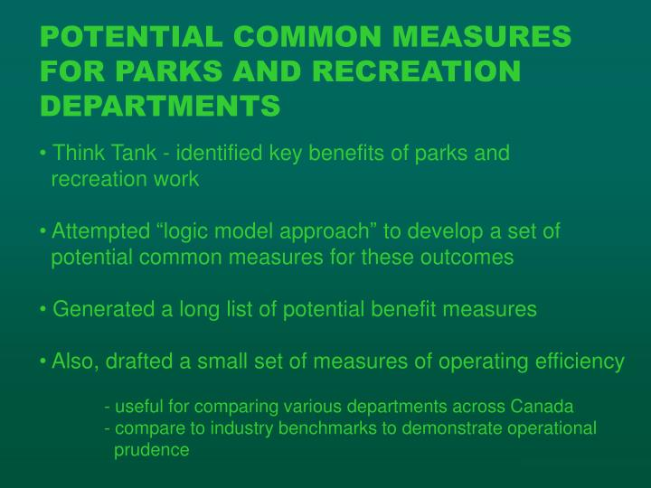 POTENTIAL COMMON MEASURES FOR PARKS AND RECREATION DEPARTMENTS