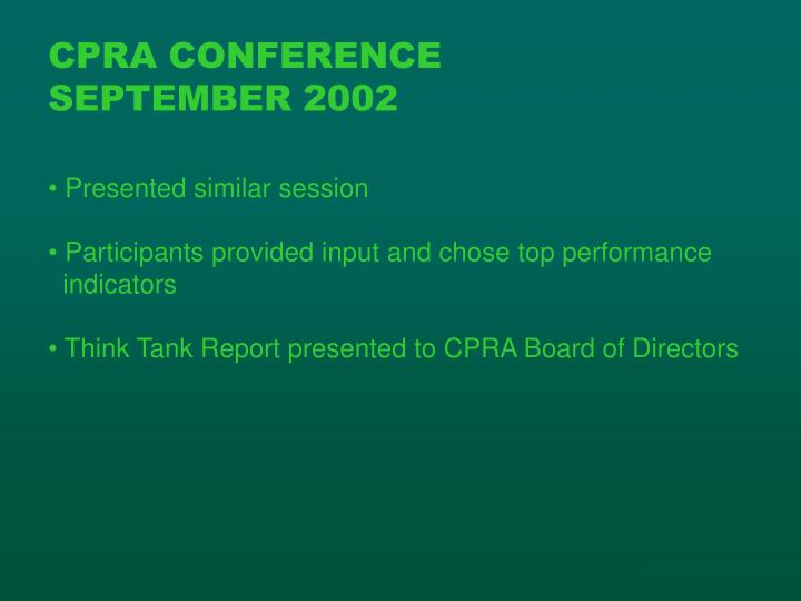 CPRA CONFERENCE