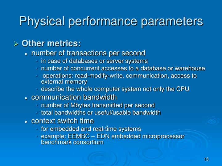Physical performance parameters
