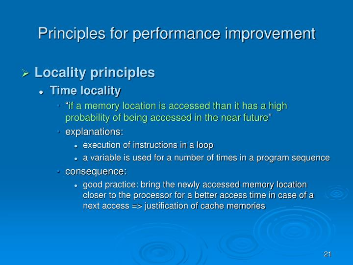 Principles for performance improvement