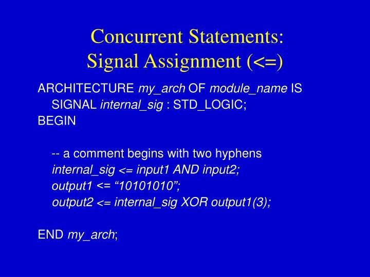 Concurrent Statements: