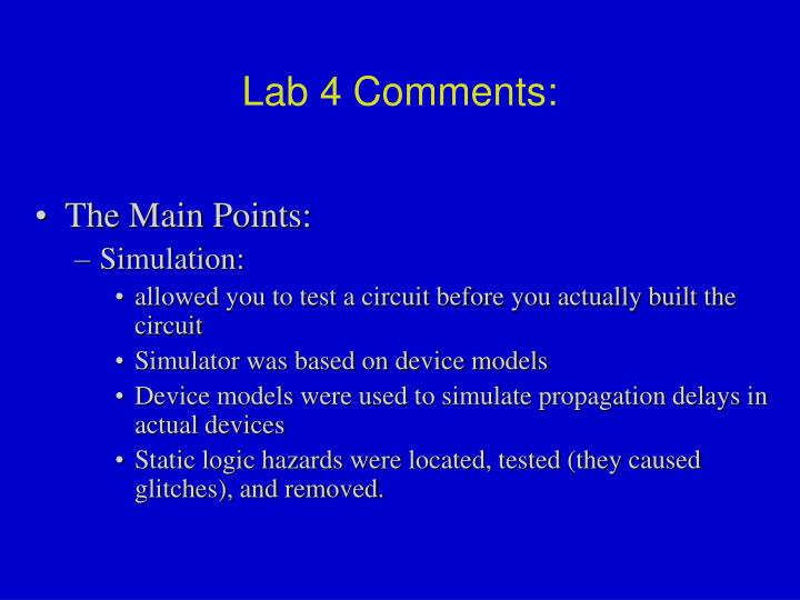 Lab 4 Comments: