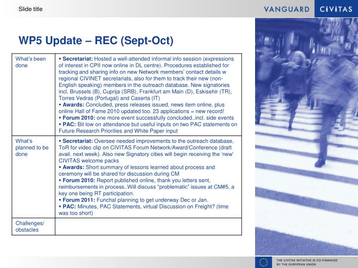 Wp5 update rec sept oct