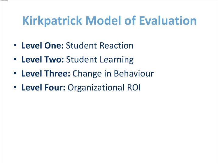 Kirkpatrick Model of Evaluation