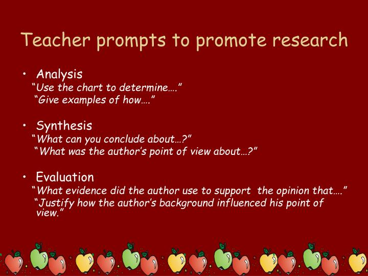 Teacher prompts to promote research