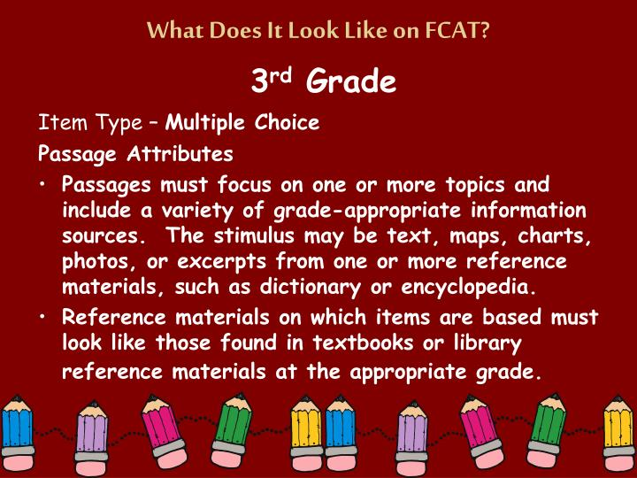 What Does It Look Like on FCAT?