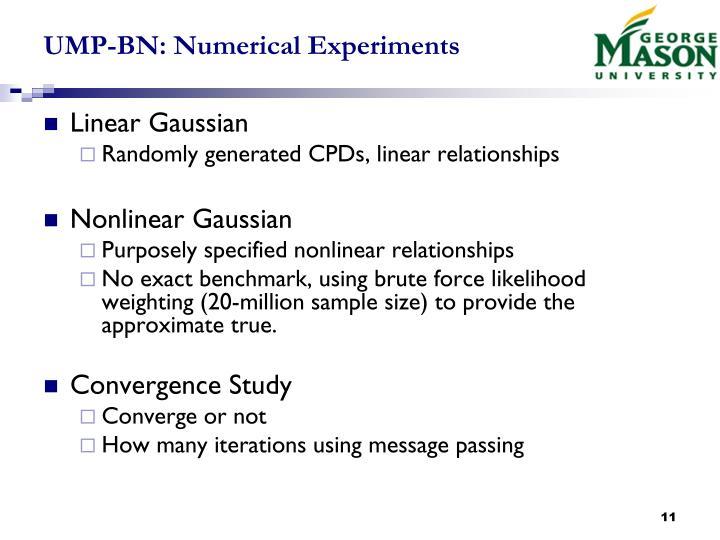 UMP-BN: Numerical Experiments