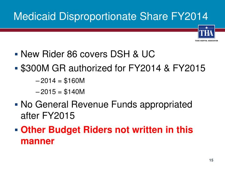 Medicaid Disproportionate Share FY2014