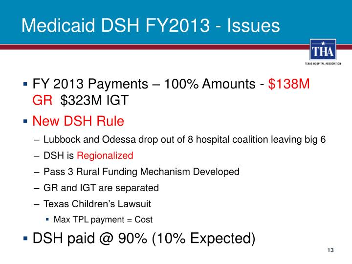 Medicaid DSH FY2013 - Issues