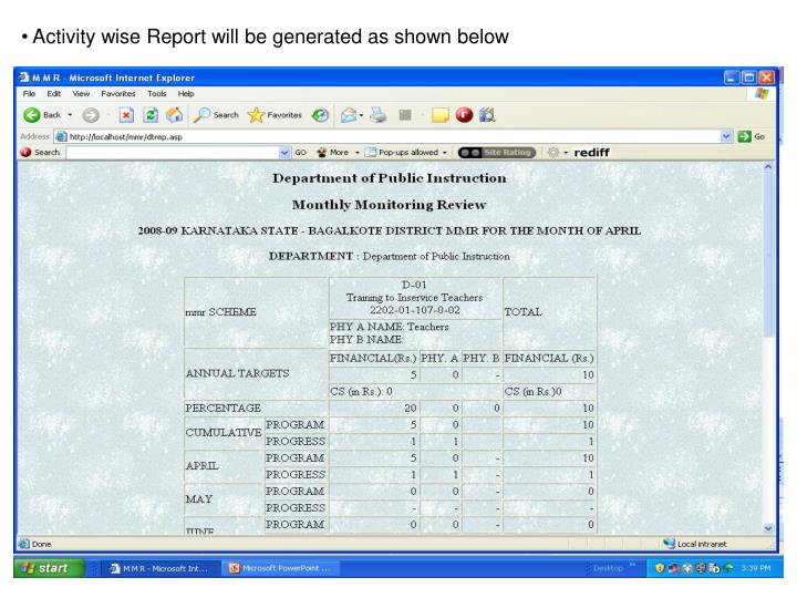 Activity wise Report will be generated as shown below